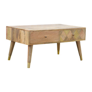 Gold Brass Coffee Table - 2 Drawers