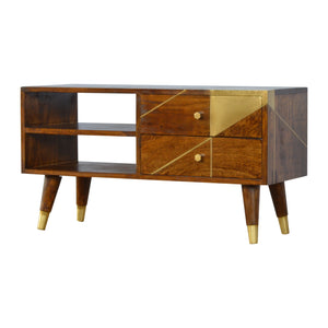 Geometric Gold Media Unit - 2 drawers & 2 shelves