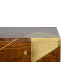 Load image into Gallery viewer, Geometric Gold Media Unit - 2 drawers & 2 shelves