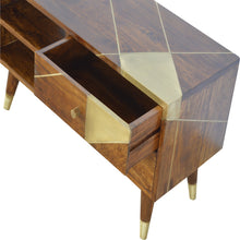 Load image into Gallery viewer, Nordic Style Chestnut Media Unit with Gold Detailing