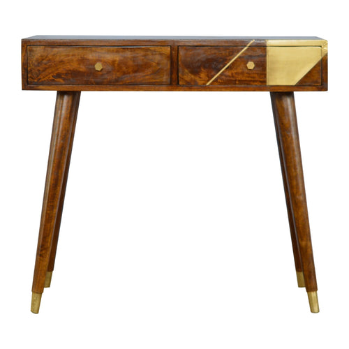 Nordic Style Chestnut Writing Desk with Gold Detailing