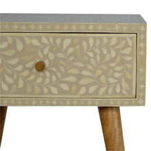 Load image into Gallery viewer, Nordic Style 1 Drawer Grey Floral Bone Inlay Bedside
