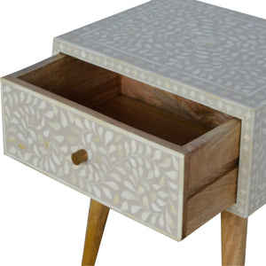 Nordic Style 1 Drawer Grey Floral Bone Inlay Bedside