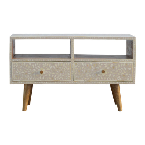 Nordic Style 2 Drawer Grey Floral Bone Inlay Media Unit