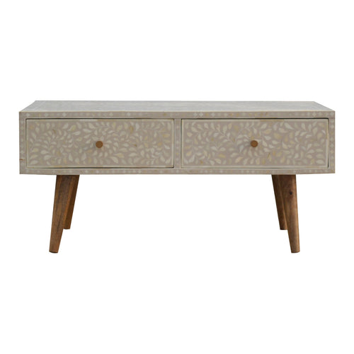 Floral Bone Inlay Coffee Table - 2 Drawers