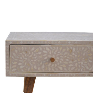 Nordic Style 2 Drawer Grey Floral Bone Inlay Coffee Table