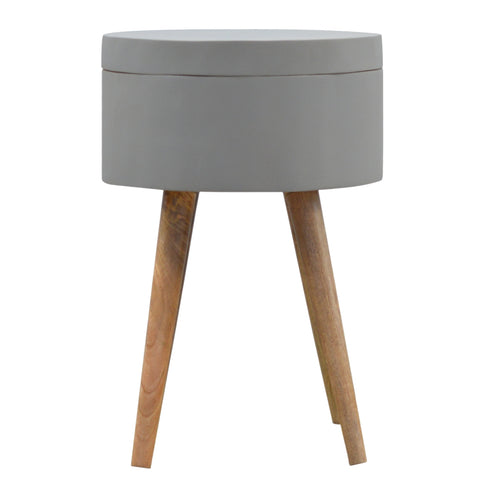 Cement Grey Painted End Table with Storage