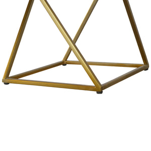 Set of 2 Chestnut Nesting Tables with Gold Base