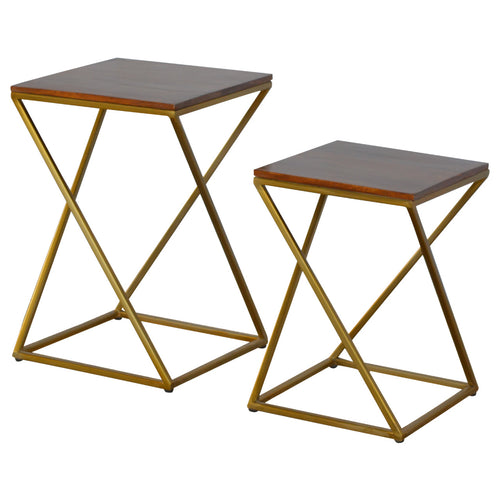 Gold Iron Base Nesting Tables - Set of 2