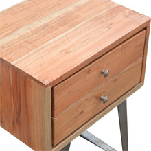 Load image into Gallery viewer, 2 Drawer Chestnut Bedside with Industrial Feet