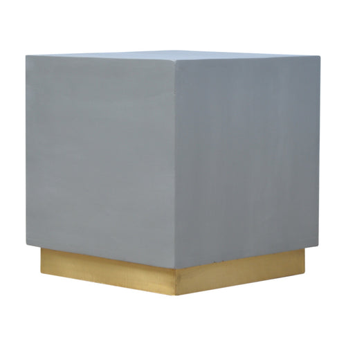 Sleek Cement Stool with Gold Base