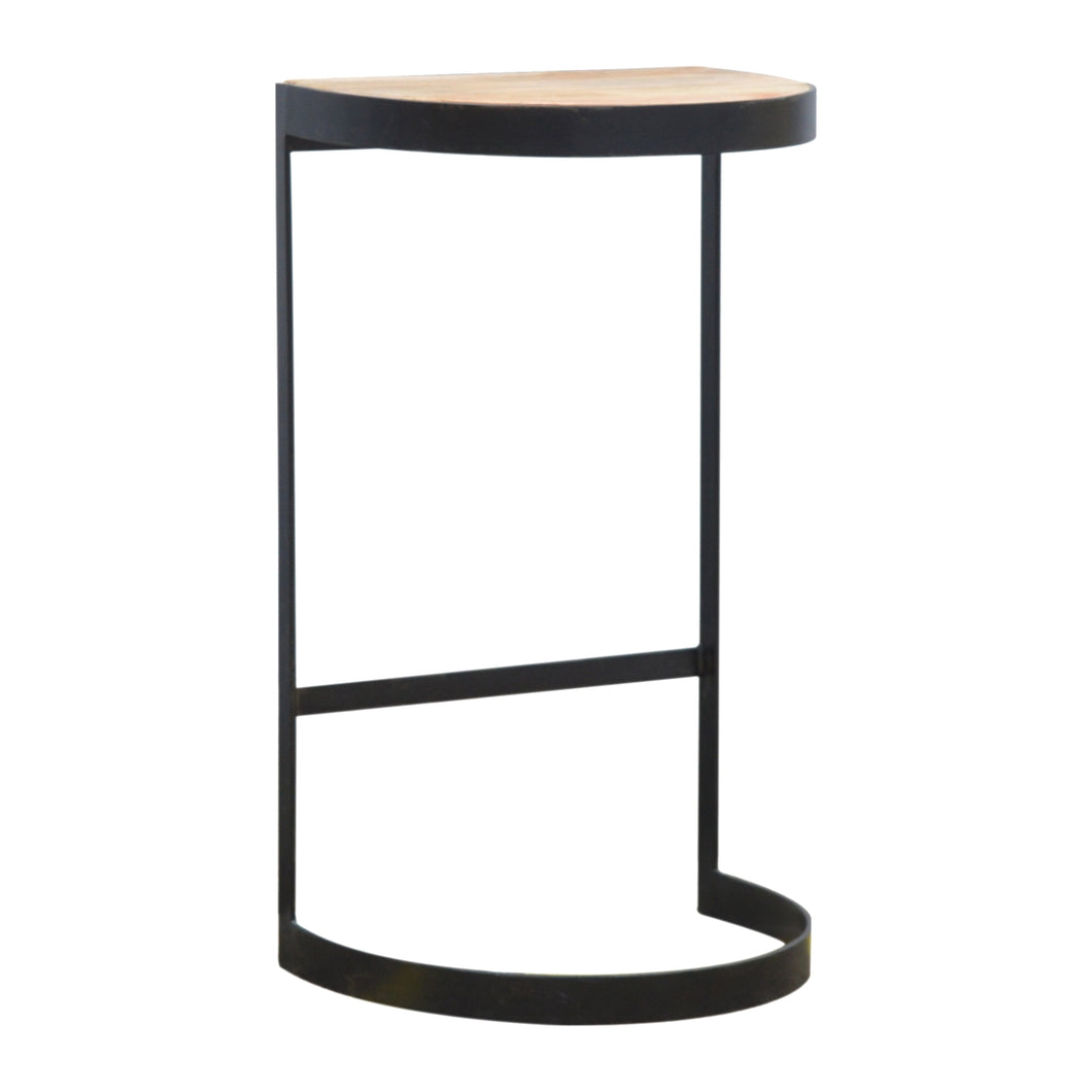 Industrial End Table with Wooden Top