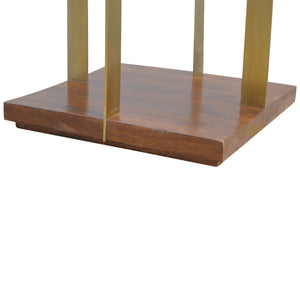 Open Chestnut End Table with 4 Gold Panels