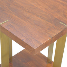 Load image into Gallery viewer, Open Chestnut End Table with 4 Gold Panels