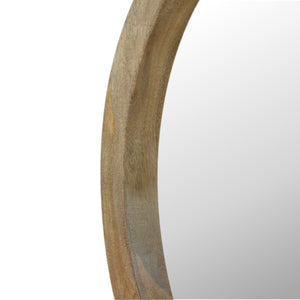 Wooden Round Mirror with Ledge