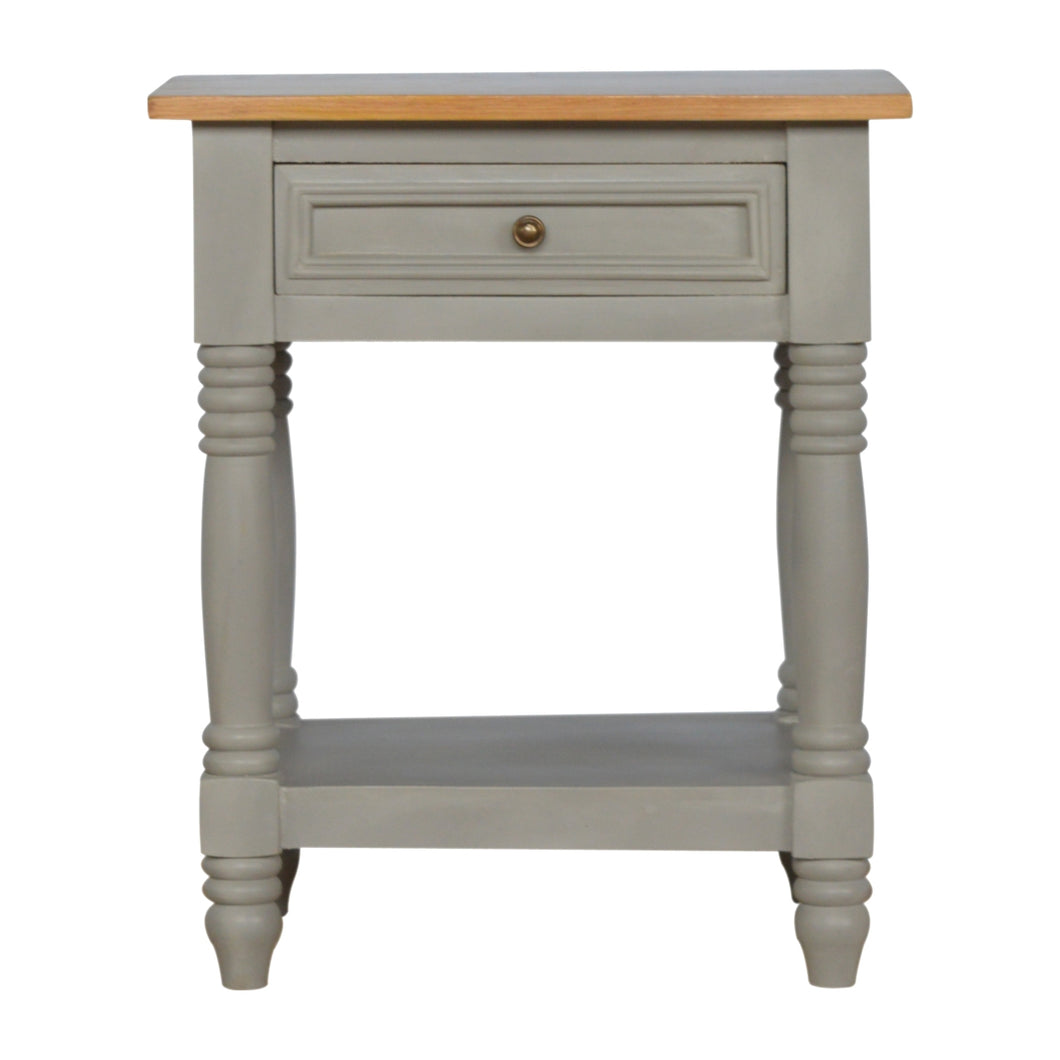 Grey Painted Bedside Table - 1 Drawer