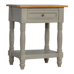 1 Drawer Grey Painted Bedside with Wooden Top and Turned Legs