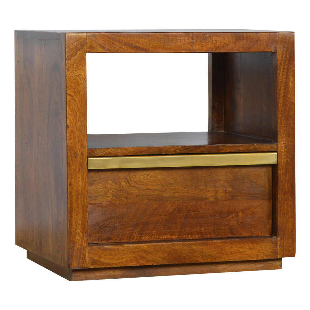 Drawer Chestnut Bedside with Gold Pull out Bar