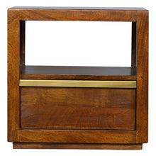 Load image into Gallery viewer, Drawer Chestnut Bedside with Gold Pull out Bar