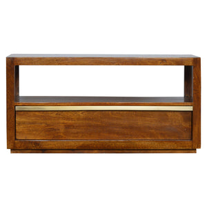 Drawer Chestnut Media Unit with Gold Pull out Bar