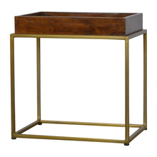 Load image into Gallery viewer, Chestnut Butler Tray Table with Gold Base