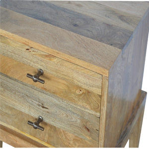 T-Bar Knobs Bedside Table - with 2 Drawers