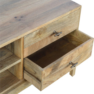 T-Bar Knobs Media Unit - with 2 Drawers & 2 Shelves