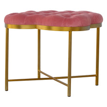 Load image into Gallery viewer, Pink Velvet Footstool with Golden Base