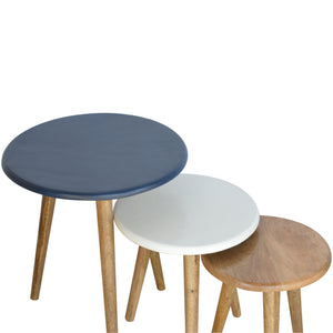Multi Nordic Style Set of 3 Stools