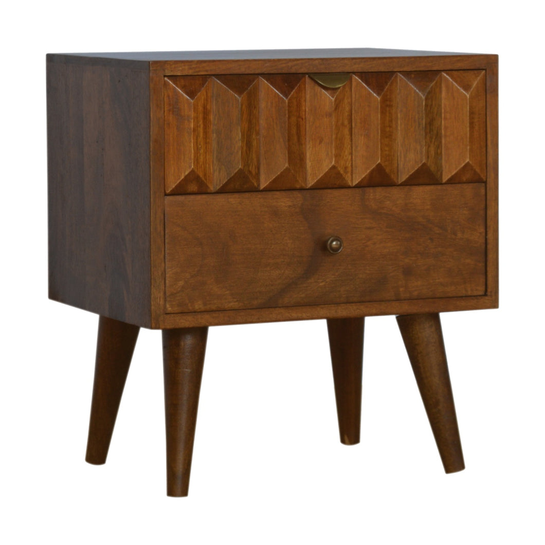 Chestnut Prism Bedside Table - 2 Drawers
