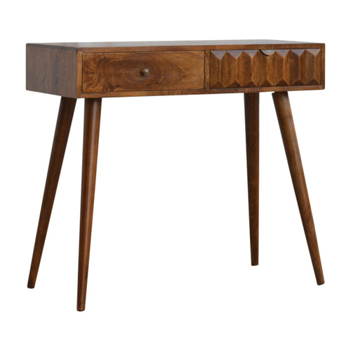 Chestnut Prism Console Table - 2 Drawers