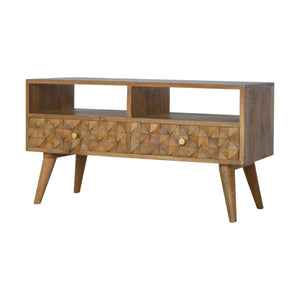 Diamond Carved TV Unit - 2 Drawers, 2 Shelves