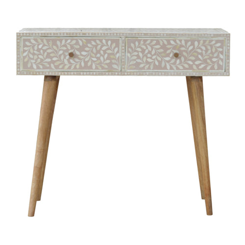 Floral Bone Inlay Console - 2 Drawers
