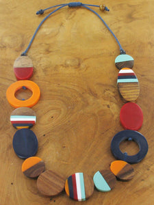 Long Mixed Shape Resin and Wood Necklace