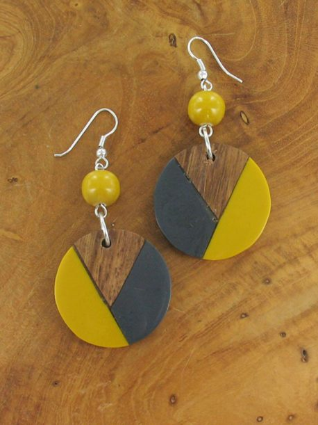 Mustard Disc Earrings