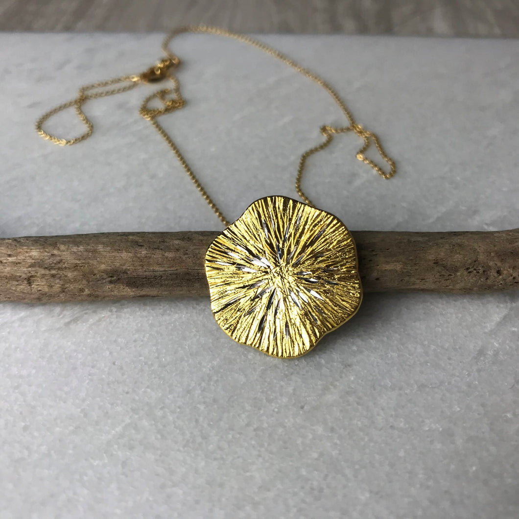 Gold Textured Disc Necklace