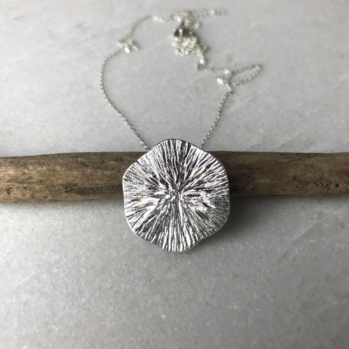Large Silver Textured Disc Necklace