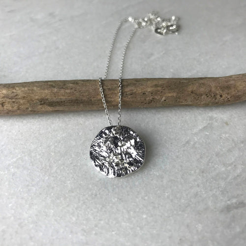 Small Silver Textured Disc Necklace