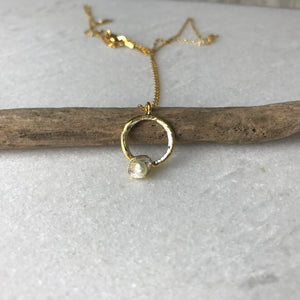 Small Pearl Hoop Necklace