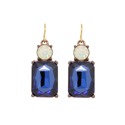 Opal Blue Square Earrings