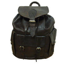 Load image into Gallery viewer, Large Dark Brown Leather Rucksack
