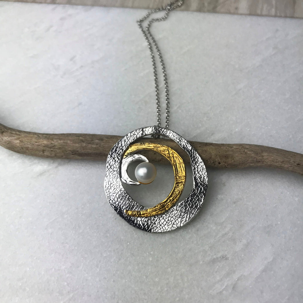 Gold & Silver Pearl Hoop Necklace
