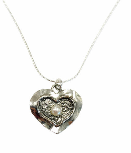 Silver Hammered Heart and Pearl Necklace