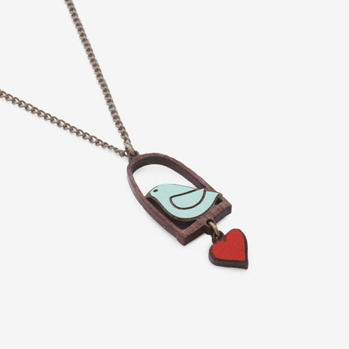 Bird & Love Heart Necklace