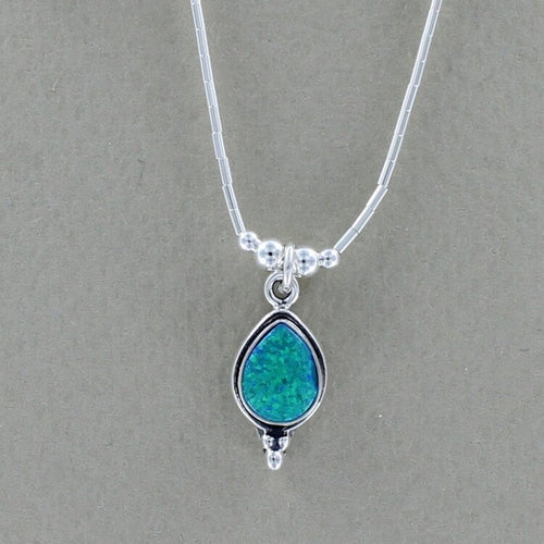 Ocean Blue Teardrop Opal Necklace