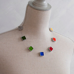 Multi-coloured Felt 7 Square Necklace
