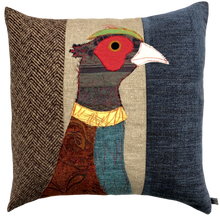 Load image into Gallery viewer, Pheasant Embroidered Tweed Cushion