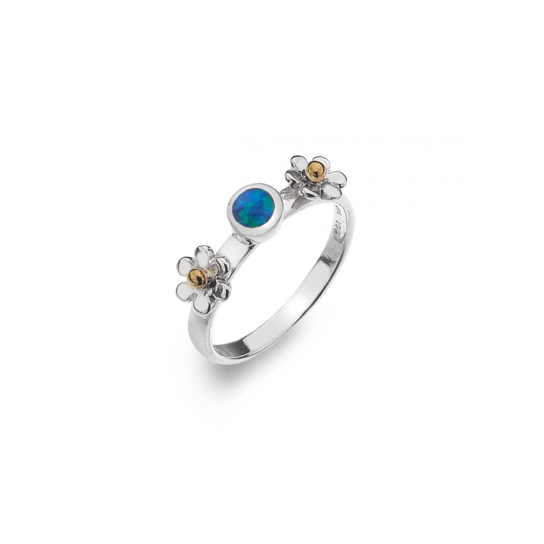 Silver Daisy Blue Opal Ring