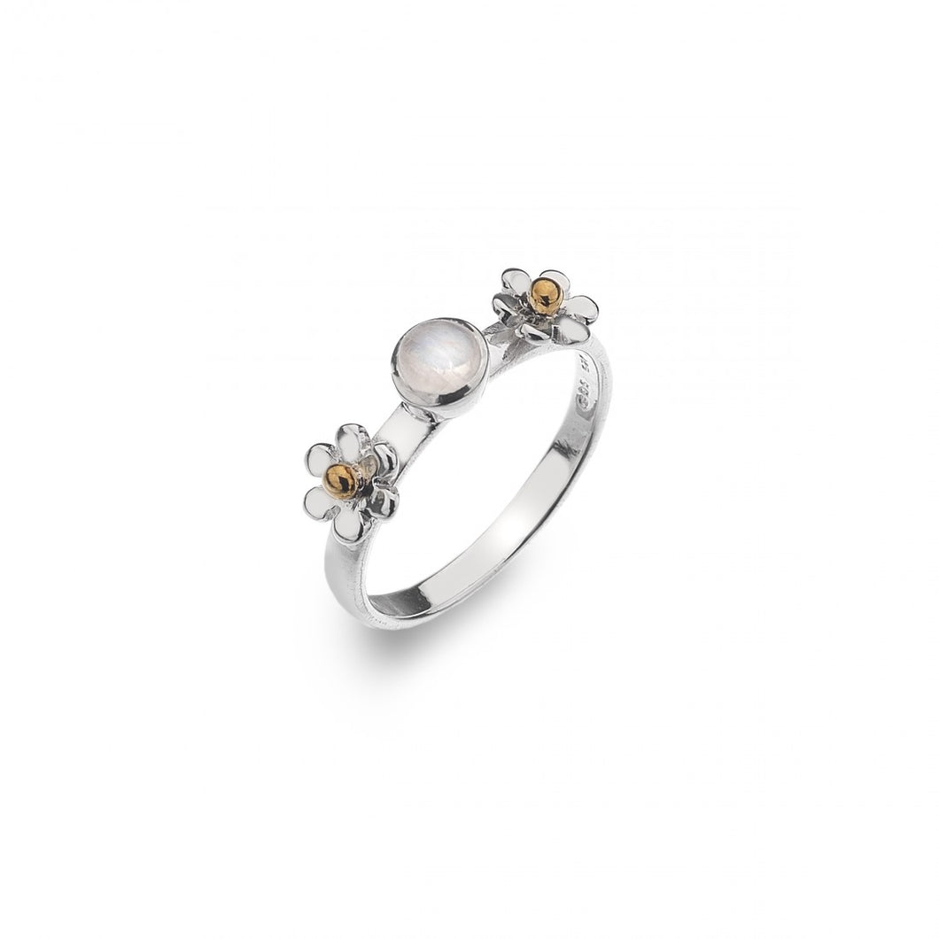 Silver Daisy Moonstone Ring