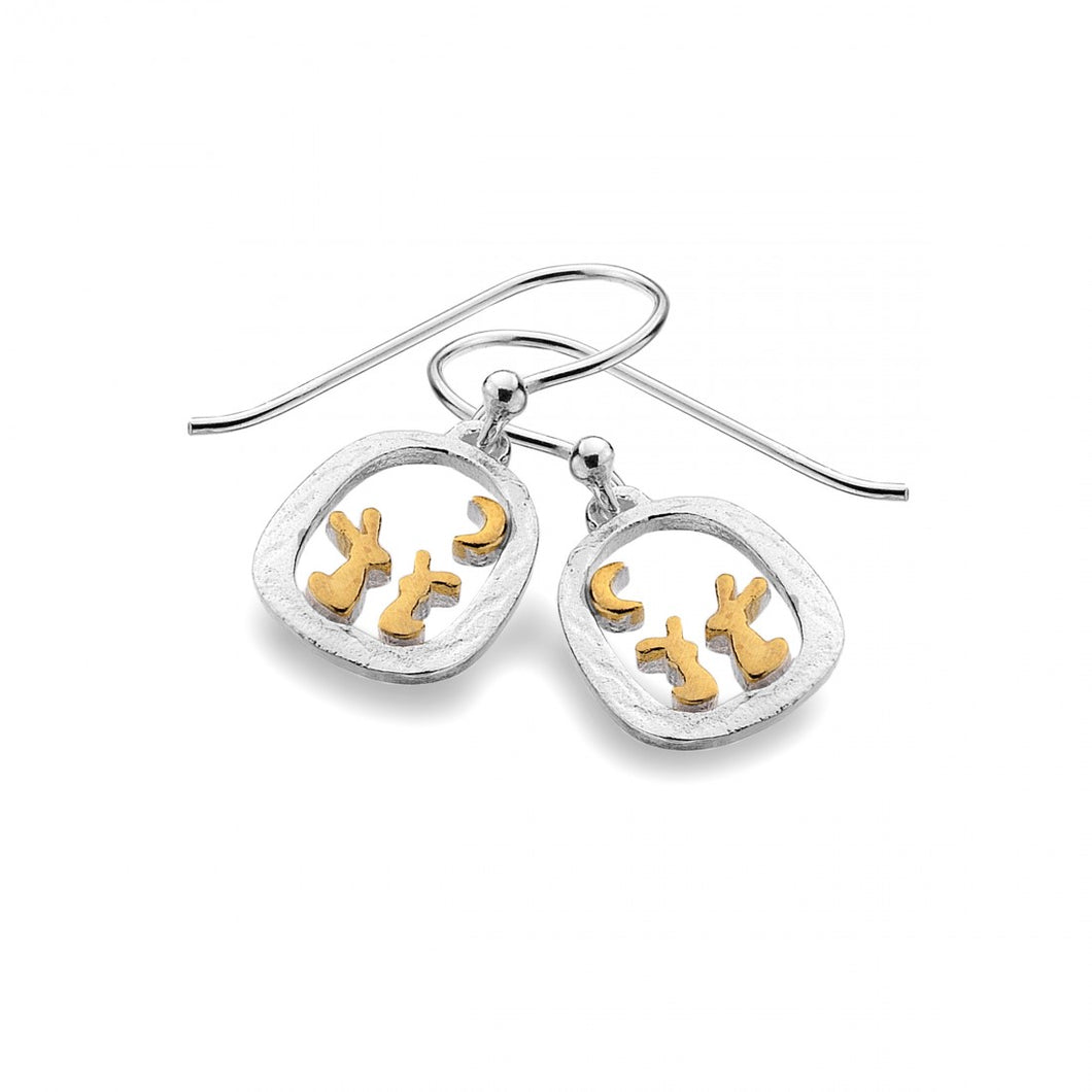 Rabbits in Frame Earrings